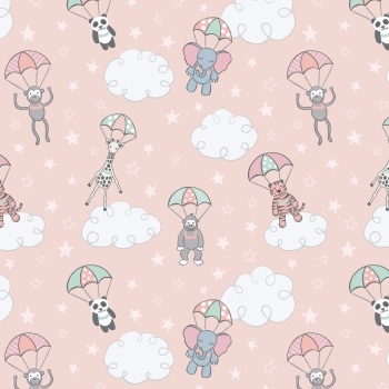 Lewis & Irene - Welcome To The World Parachuting Babies On Pink, per fat quarter