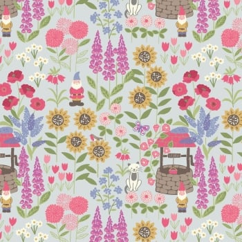 Lewis & Irene - Grandma's Garden On Light Blue, per fat quarter