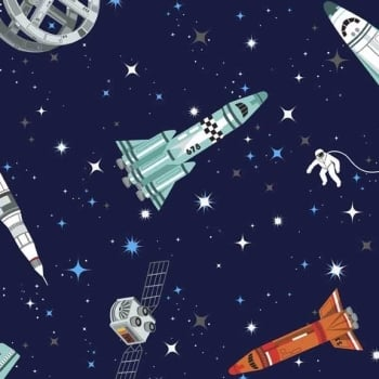 Makower UK - Galaxy Rockets in Blue, per fat quarter