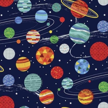 Makower UK - Galaxy Planets in Blue, per fat quarter