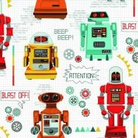 Makower UK - Galaxy Robots, per fat quarter