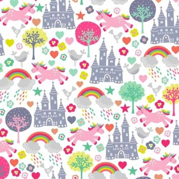 Makower UK - Fantasy Scenic In White, per fat quarter