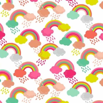 Makower UK - Fantasy Rainbows In White, per fat quarter