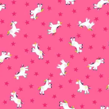 Makower UK - Fantasy Unicorns In Pink, per fat quarter