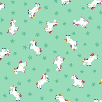 Makower UK - Fantasy Unicorns In Turquoise, per fat quarter