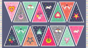 Makower UK - Fantasy Bunting Panel, per panel   ***WAS £7.00***