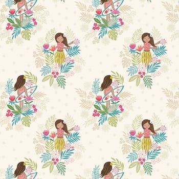 Lewis & Irene - Island Girl On White Sand, per fat quarter