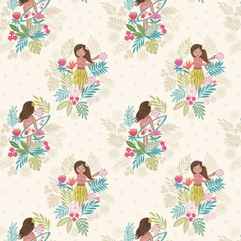Lewis & Irene - Island Girl On White Sand, per fat quarter  ***WAS £2.75***