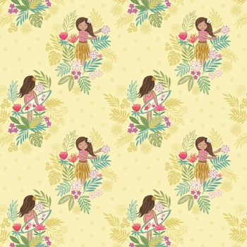 Lewis & Irene - Island Girl On White Sunshine, per fat quarter