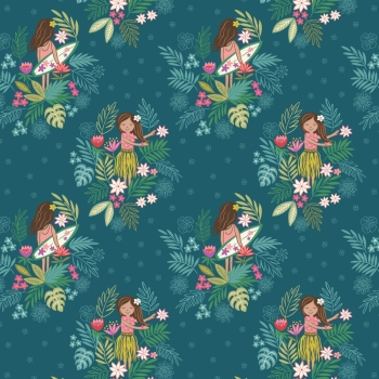 Lewis & Irene - Island Girl On Dark Teal, per fat quarter