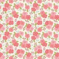 <!--4133-->Lewis &amp; Irene - Island Girl Peach Hibiscus, per fat quarter