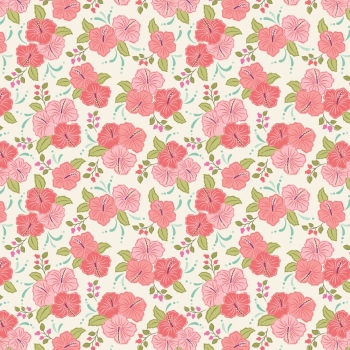 Lewis & Irene - Island Girl Peach Hibiscus, per fat quarter  ***WAS £2.75**