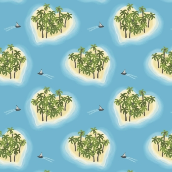 Lewis & Irene - Island Girl Sky Blue Heart Islands, per fat quarter  ***WAS £2.75***