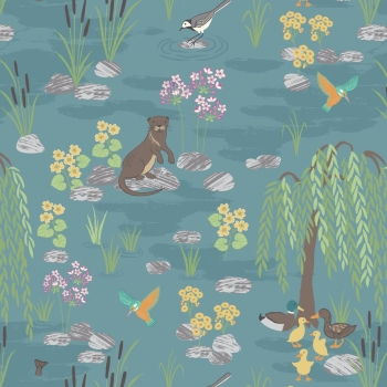 Lewis & Irene - Down By The River On Teal, per fat quarter