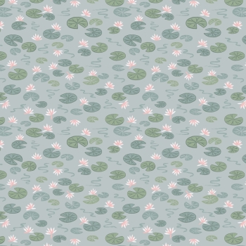 Lewis & Irene - Down By The River Lily Pads On Light Blue, per fat quarter