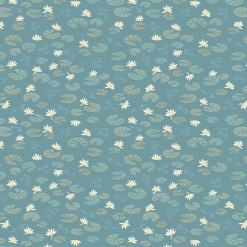 Lewis & Irene - Down By The River Lily Pads On Teal, per fat quarter