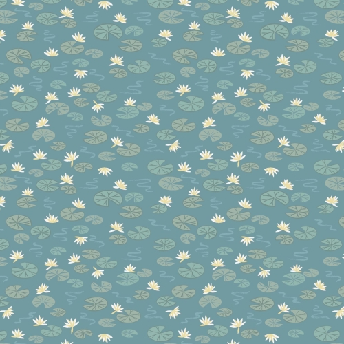 <!--4142-->Lewis & Irene - Down By The River Lily Pads On Teal, per fat qua