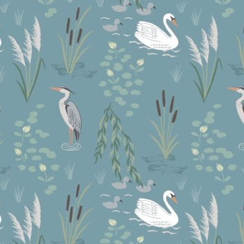Lewis & Irene - Down By The River Swan And Heron On Teal, per fat quarter  ***WAS £2.75***