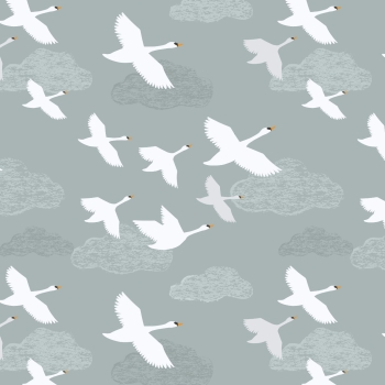 Lewis & Irene - Down By The River Swans In Flight On Pale Grey/Blue, per fat quarter