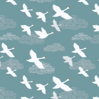 Lewis & Irene - Down By The River Swans In Flight On Teal, per fat quarter