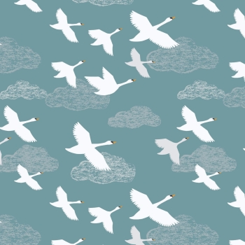 Lewis & Irene - Down By The River Swans In Flight On Teal, per fat quarter  ***WAS £2.75***