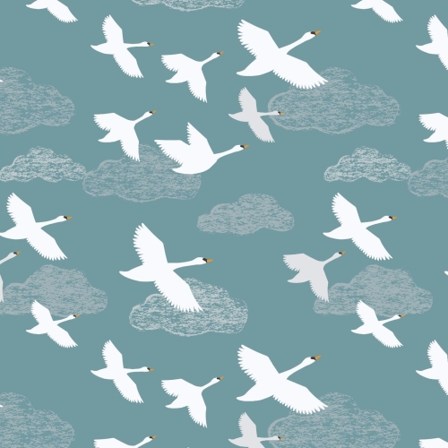 <!--4146-->Lewis & Irene - Down By The River Swans In Flight On Teal, per f