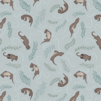Lewis & Irene - Down By The River Playful Otters On Pale Blue, per fat quarter