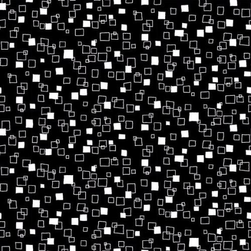 <!--3035-->Makower UK - Monochrome Squares White On Black, per fat quarter