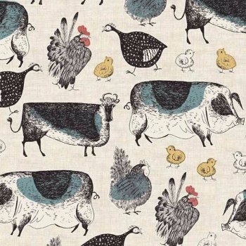 Makower UK - Home Grown Animals in Cream, per fat quarter