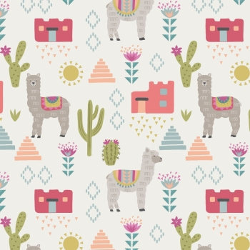 Lewis & Irene - Paracus Alpacas On White, per fat quarter