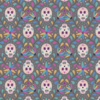 Lewis & Irene - Paracus Skulls On Grey, per fat quarter