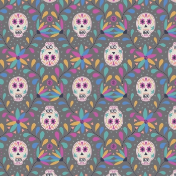 Lewis & Irene - Paracus Skulls On Grey, per fat quarter  ***WAS £2.75***