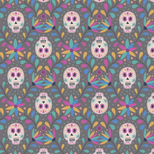 <!--4151-->Lewis & Irene - Paracus Skulls On Grey, per fat quarter