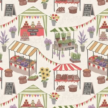 Lewis & Irene - Farmers Market On Light Cream, per fat quarter  ***WAS £2.75***