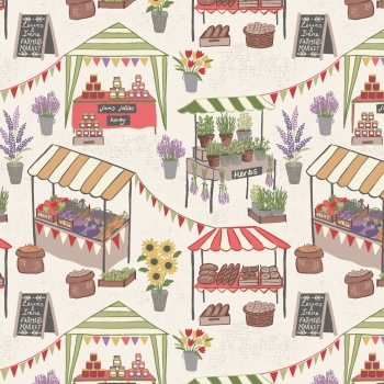 Lewis & Irene - Farmers Market On Light Cream, per fat quarter