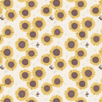Lewis & Irene - Farmers Market Sunflowers On Light Cream, per fat quarter