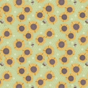 Lewis & Irene - Farmers Market Sunflowers On Grass, per fat quarter