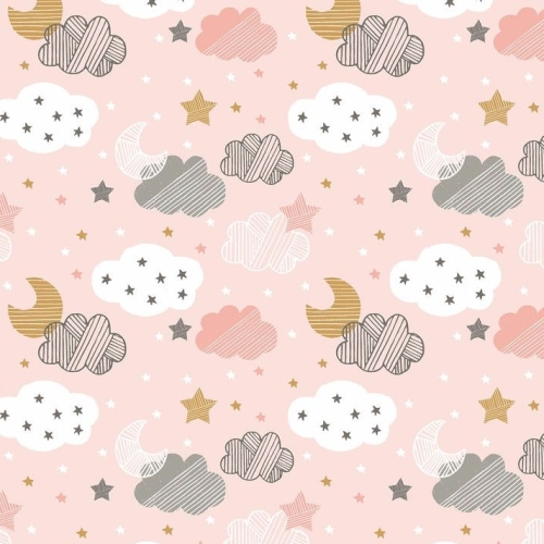 <!--5201-->Blend Fabrics - Sweet Dreams - Starry Nights in Pink, per fat qu