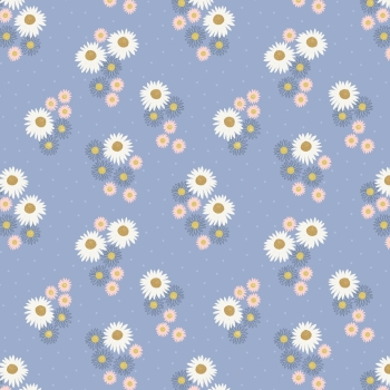 Lewis & Irene - Flo's Wildflowers Daisies On Blue, per fat quarter