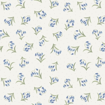 Lewis & Irene - Flo's Wildflowers Bluebells On Cream, per fat quarter