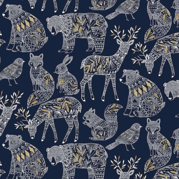 Dashwood Studios - Norrland Navy with Metallic Detailing, per fat quarter