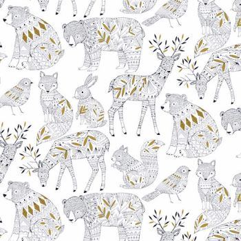 Dashwood Studios - Norrland White with Metallic Detailing, per fat quarter