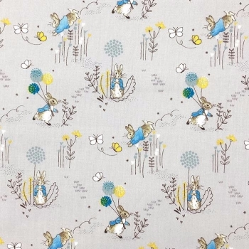 The Craft Cotton Company - Peter Rabbit Playful Bunnies in Teal, per fat quarter