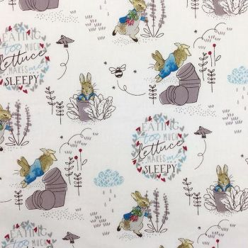 The Craft Cotton Company - Peter Rabbit Cheeky Bunnies on White, per fat quarter