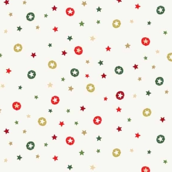 Makower UK - Modern Metallic Stars In Cream, per fat quarter  **WAS £2.65**