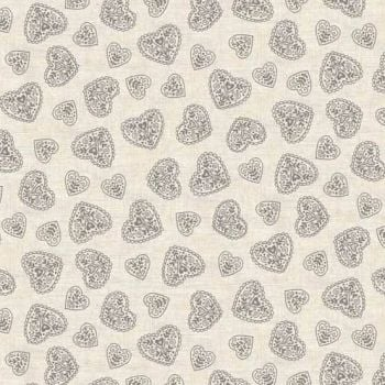Makower UK - 2017 Scandi 4 Hearts in Grey, per fat quarter