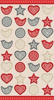 Makower UK - Scandi 4 Garland Panel in Red and Grey, per fat quarter
