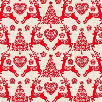 Makower UK - Scandi 4 Set Reindeer in Red, per fat quarter