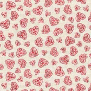 Makower UK - 2017 Scandi 4 Hearts in Red, per fat quarter