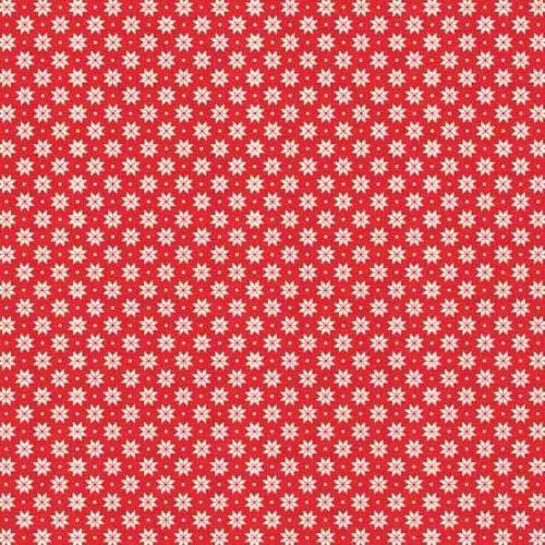 <!--9061-->Makower UK - 2017 Scandi 4 Swedish Snowflake in Red, per fat qua